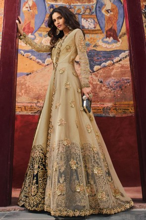 Embroidered Golden Net Fabric Abaya Style Anarkali Suit And Dupatta