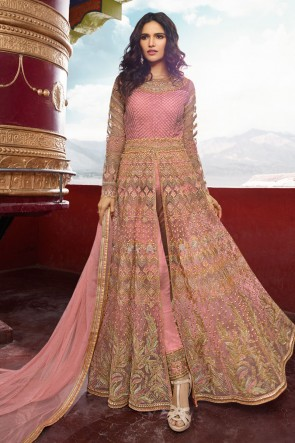 Pink Embroidered Net Fabric Abaya Style Anarkali Suit And Dupatta