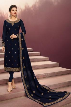 Delightful Navy Blue Drashti Dhami Embroidered Georgette Satin Salwar Suit And Dupatta