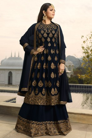 Drashti Dhami Charming Navy Blue Embroidered Georgette Plazzo Suit And Dupatta