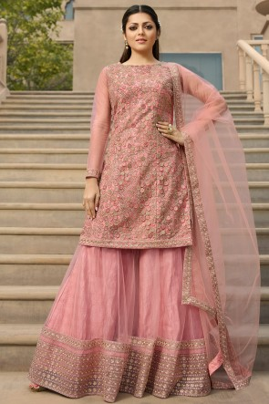 Drashti Dhami Marvelous Pink Embroidered Georgette Plazzo Suit And Dupatta