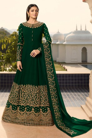 Charming Green Embroidered Georgette Drashti Dhami Anarkali Suit And Dupatta
