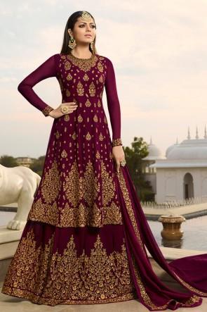 Drashti Dhami Maroon Embroidered Georgette Plazzo Suit And Dupatta