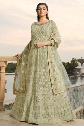 Drashti Dhami Designer Pista Georgette Anarkali Suit And Dupatta