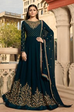 Beautiful Navy Blue Drashti Dhami Designer Georgette Embroidered Anarkali Suit And Dupatta
