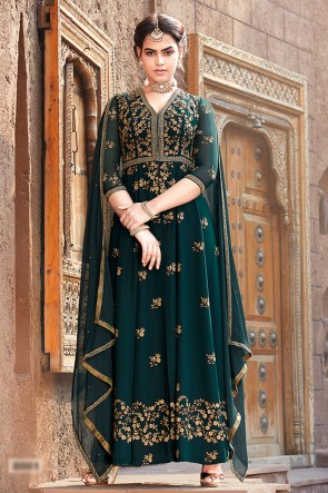 Beads Work And Lace Work Designer Green Faux Georgette Abaya Style Anarkali Suit And Dupatta