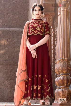 Faux Georgette Fabric Red Beads Work And Lace Work Abaya Style Anarkali Suit With Chiffon Dupatta
