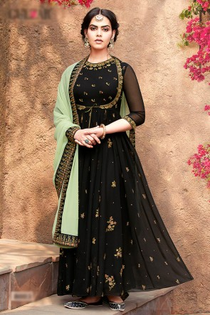 Black Faux Georgette Fabric Beads Work Abaya Style Anarkali Suit With Net Dupatta