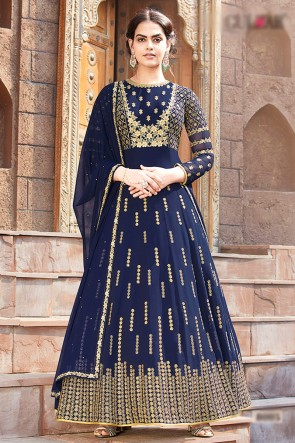 Faux Georgette Fabric Blue Beads Work And Lace Work Abaya Style Anarkali Suit With Chiffon Dupatta
