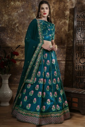 Delicate Lace And Beads Work Sea Green Silk Fabric Lehenga Choli With Net Dupatta
