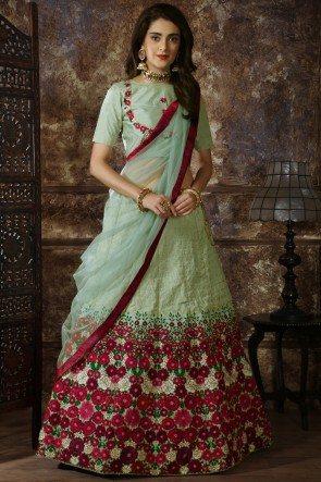 Lace Work And Beads Work Sky Blue Silk Stylish Lehenga Choli With Net Dupatta