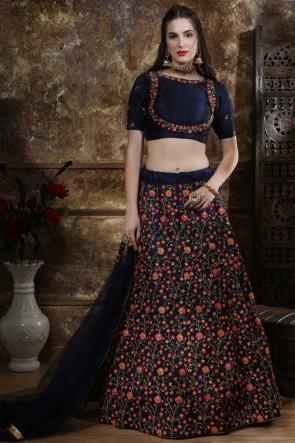 Beads Work And Embroidery Work Navy Blue Silk Lehenga Choli With Net Dupatta