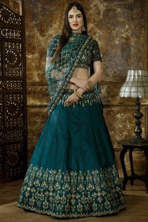 Supreme Green Embroidery And Beads Work Satin Fabric Lehenga Choli With Net Dupatta