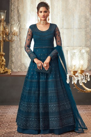 Pretty Lace Work And Beads Work Navy Blue Net Fabric Abaya Style Anarkali Suit And Dupatta