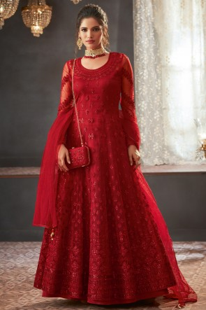 Marvelous Red Net Fabric Embroidery And Beads Work Abaya Style Anarkali Suit And Dupatta