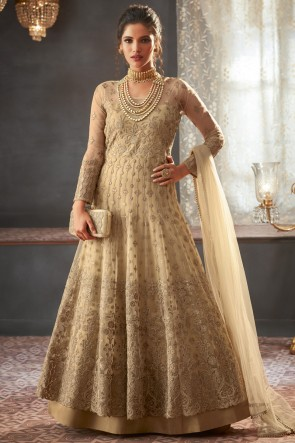 Beige Embroidery And Beads Work Designer Net Fabric Abaya Style Anarkali Suit And Dupatta