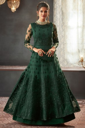 Net Fabric Green Embroidered And Lace Work Abaya Style Solid Anarkali Suit And Santoon Bottom
