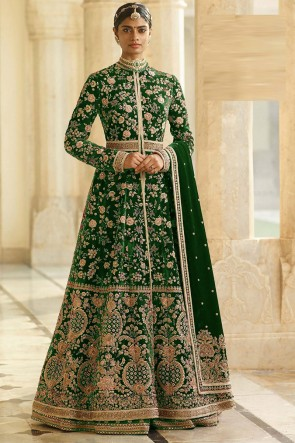 Green Embroidered And Lace Work Velvet Abaya Style Anarkali Suit And Santoon Bottom