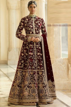 Velvet Fabric Maroon Embroidery And Beads Work Designer Abaya Style Anarkali Suit And Dupatta