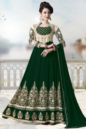 Embroidery And Beads Work Green Faux Georgette Fabric Abaya Style Anarkali Suit And Dupatta