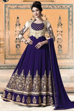 Purple Embroidered And Lace Work Faux Georgette Abaya Style Anarkali Suit And Santoon Bottom