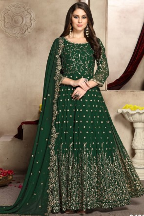 Charming Green Embroidered Georgette Anarkali Suit And Dupatta