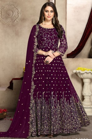 Purple Embroidered Georgette Anarkali Suit With And Dupatta