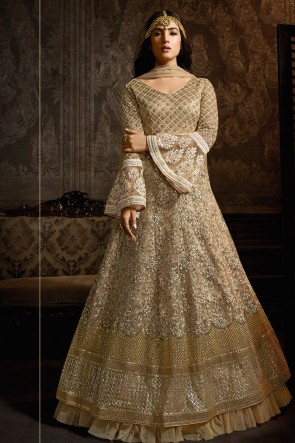 Charming Golden Embroidered Net Anarkali Suit And Dupatta