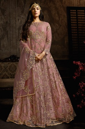 Wine Embroidered Net Anarkali Suit With And Dupatta