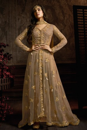 Chikoo Net Embroidered Anarkali Suit And Dupatta