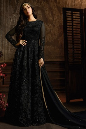 Fascinating Black Embroidered Net Anarkali Suit And Dupatta