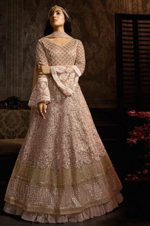 Admirable Wine Designer Net Embroidered Anarkali Suit And Dupatta