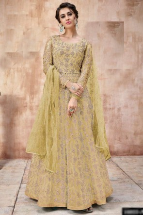Heavy Designer Golden Net Fabric Embroidery And Beads Work Abaya Style Anarkali Suit And Depatta