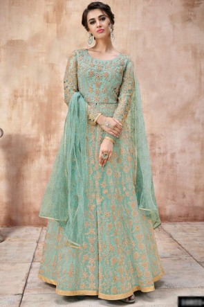Embroidery And Beads work Designer Sea Green Net Fabric Abaya Style Anarkali Suit And Dupatta