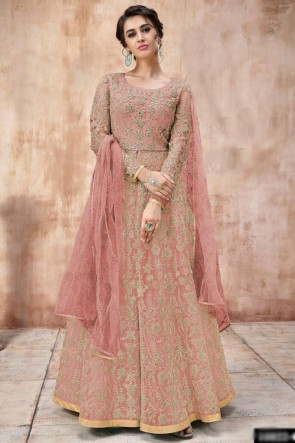 Net Fabric Embroidered And Lace Work Peach Abaya Style Anarkali Suit And Dupatta