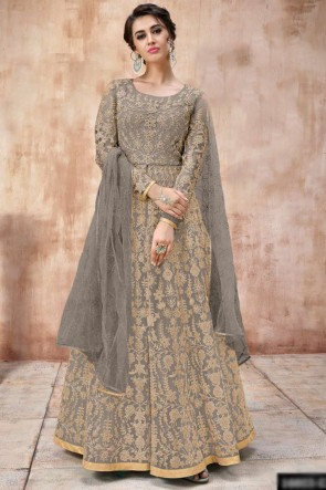Lace Work And Beads Work Grey Net Fabric Abaya Style Anarkali Suit And Silk Satin Bottom