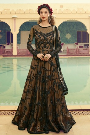 Gorgeous Black Embroidered Net Anarkali Suit And Dupatta