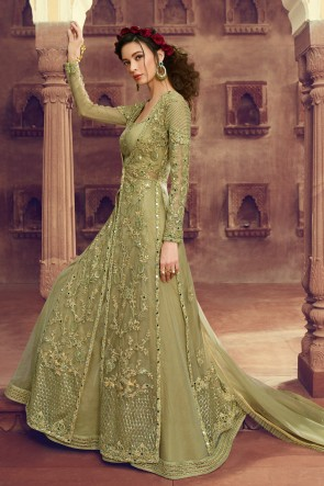 Delicate Pista Embroidered Net Anarkali Suit And Dupatta
