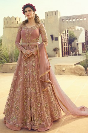 Beautiful Embroidered Peach Gold Net Anarkali Suit And Dupatta