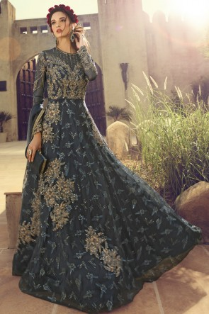 Lovely Embroidered Grey Net Anarkali Suit And Dupatta