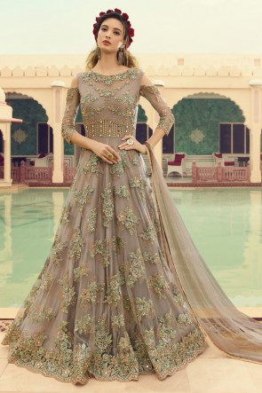 Charming Beige Net Embroidered Anarkali Suit And Dupatta