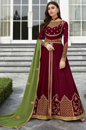 Maroon Embroidered Georgette Anarkali Suit And Dupatta