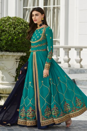 Sky Blue Embroidered Georgette Anarkali Suit And Dupatta