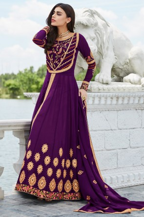 Purple Georgette Embroidered Anarkali Suit And Dupatta