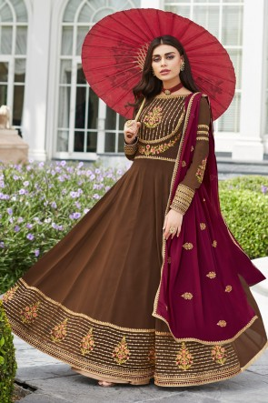 Beautiful Khaki Georgette Embroidered Anarkali Suit And Dupatta