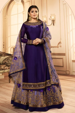 Drashti Dhami Gorgeous Georgette Satin Purple Embroidered And Lace Work Lehenga Suit With Net Dupatta
