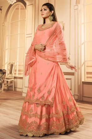 Drashti Dhami Party Wear Peach Embroidered And Lace Work Lehenga Suit With Net Dupatta
