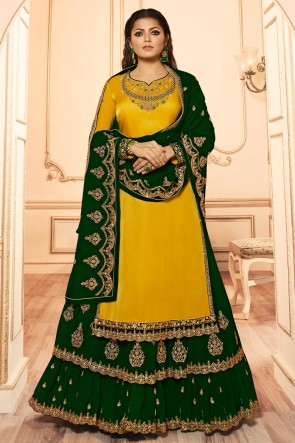 Drashti Dhami Lovely Embroidered And Lace Work Yellow Georgette Satin Lehenga Suit And Dupatta