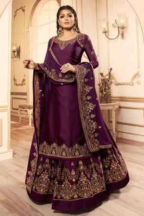 Drashti Dhami Charming Wine Embroidered And Lace Work Georgette Satin Lehenga Suit And Dupatta