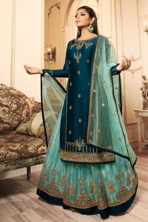 Drashti Dhami Royal Blue Georgette Satin Embroidered And And Lace Work Lehenga Suit With Net Dupatta